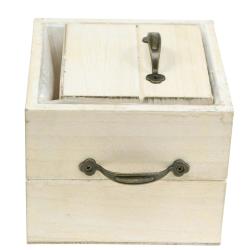 Pflanzgefäß Holzschublade Creme 15×15cm/12×12cm 2er-Set